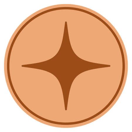 Space Star bronze coin icon. Vector style is a copper flat coin symbol. Illusztráció