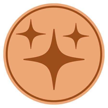 スペーススターブロンズコインアイコン。ベクトルスタイルは、銅フラットコインシンボルです。
