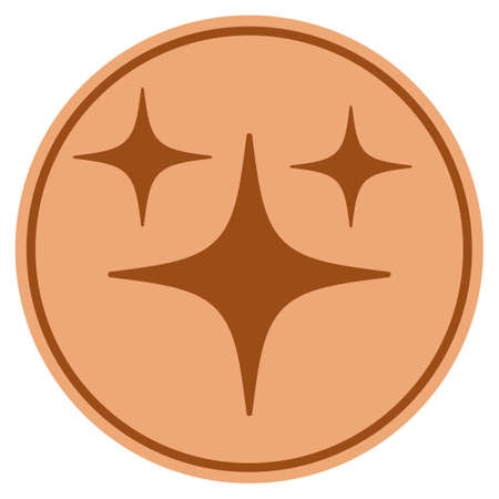 Space Stars bronze coin icon. Vector style is a copper flat coin symbol.