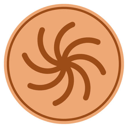 Spiral bronze coin icon. Vector style is a copper flat coin symbol.