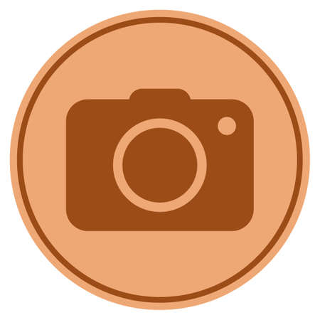 Photo camera bronze coin icon. Vector style is a copper flat coin symbol. Иллюстрация