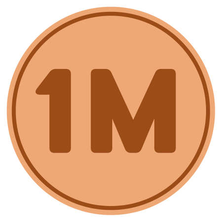 One million bronze coin icon. Vector style is a copper flat coin symbol.