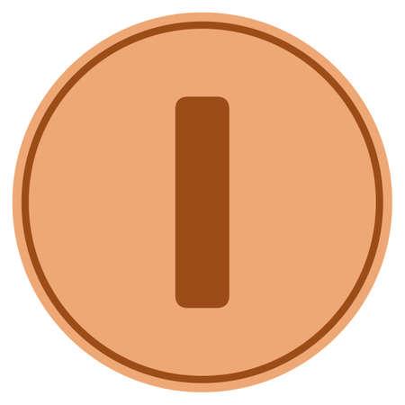 Roman One bronze coin icon. Vector style is a copper flat coin symbol. Ilustração