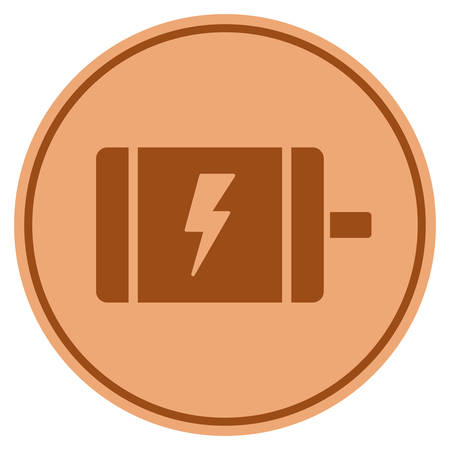 Electric motor bronze coin icon. Vector style is a copper flat coin symbol.