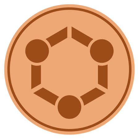 Human union bronze coin icon. Vector style is a copper flat coin symbol.