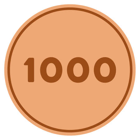 Thousand bronze coin icon. Vector style is a copper flat coin symbol. Çizim