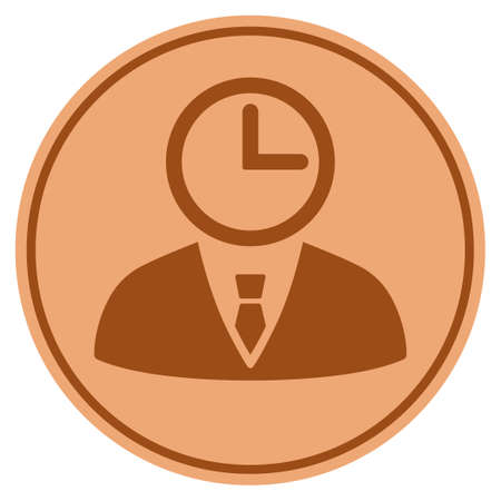 Time Manager bronze coin icon. Vector style is a copper flat coin symbol. Illustration