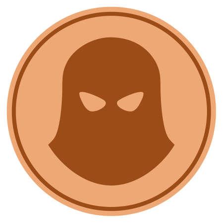 Terrorist Balaklava bronze coin icon. Vector style is a copper flat coin symbol.