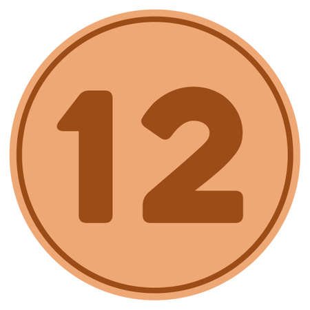 Twelve bronze coin icon. Vector style is a copper flat coin symbol.