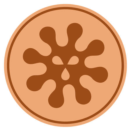 Virus bronze coin icon. Vector style is a copper flat coin symbol.