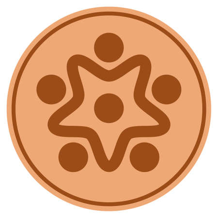 User Organization bronze coin icon. Vector style is a copper flat coin symbol.