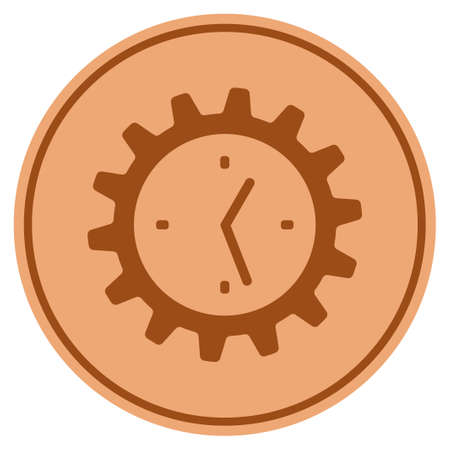 Work time gear bronze coin icon. Vector style is a copper flat coin symbol.