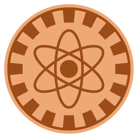Atom bronze casino chip pictograph. Vector style is a copper flat gambling token symbol. Illustration