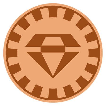 화려한 브론즈 카지노 칩 그림. 벡터 스타일은 구리 평면 도박 토큰 심볼입니다.