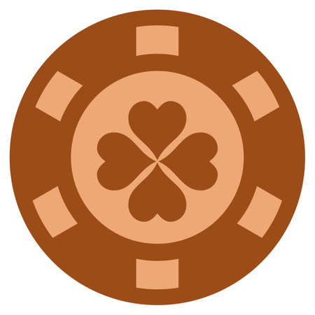 Lucky Clover copper casino chip pictograph. Vector style is a bronze flat gambling token item.