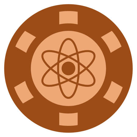 Atom copper casino chip pictograph. Vector style is a copper flat gambling token item.