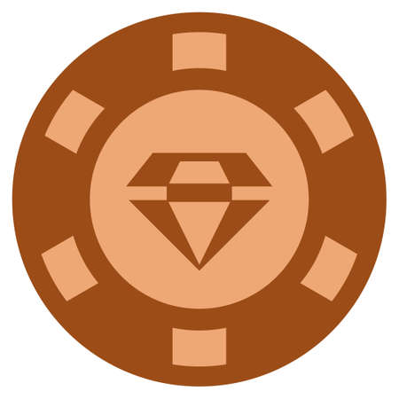 Brilliant copper casino chip pictogram. Vector style is a bronze flat gamble token symbol.