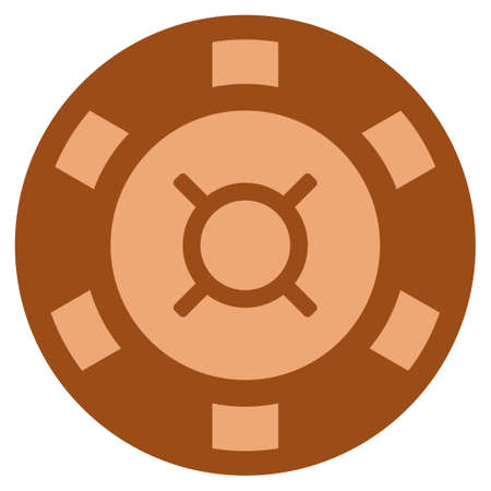Currency copper casino chip pictograph. Vector style is a copper flat gamble token symbol. Illustration
