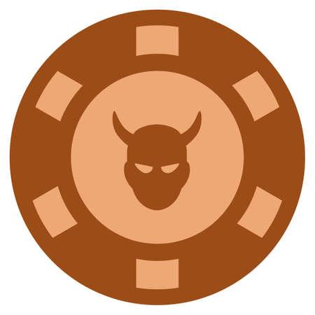 Devil copper casino chip icon. Vector style is a bronze flat gamble token item. Illustration