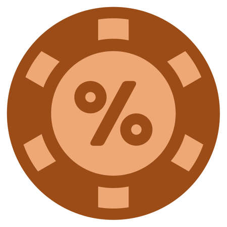 Percent bronze casino chip pictograph. Vector style is a copper flat gamble token item. Illustration
