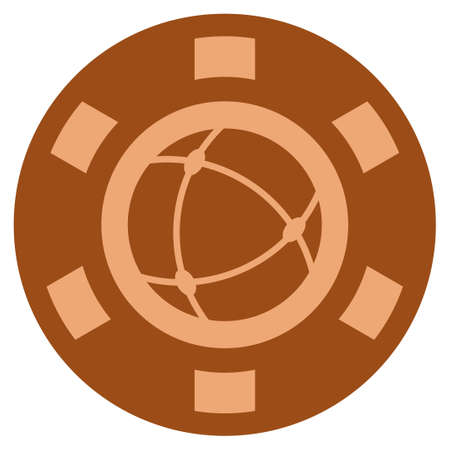 Universe bronze casino chip pictogram. Vector style is a copper flat gambling token item. Illustration