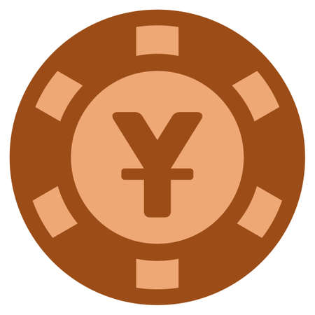 Yen bronze casino chip pictograph. Vector style is a bronze flat gamble token item. Illustration