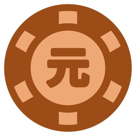 Yuan Renminbi copper casino chip pictogram. Vector style is a bronze flat gambling token symbol. Illustration