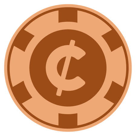Cent bronze casino chip pictograph. Vector style is a copper flat gamble token item. Illustration