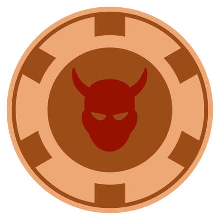 Devil bronze casino chip icon. Vector style is a copper flat gambling token symbol. Ilustração