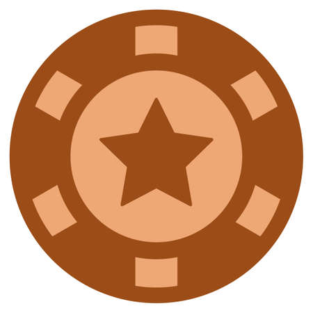 5-Finger Star copper casino chip icon. Vector style is a bronze flat gambling token item.