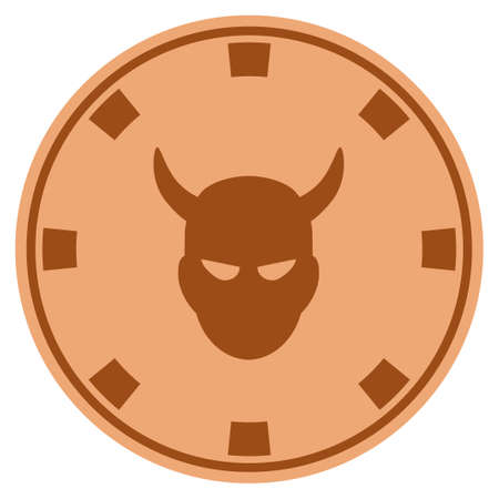 Devil bronze casino chip icon. Vector style is a copper flat gambling token item.