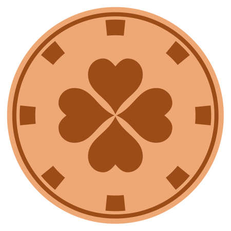 Lucky Clover bronze casino chip pictogram. Vector style is a copper flat gambling token item.