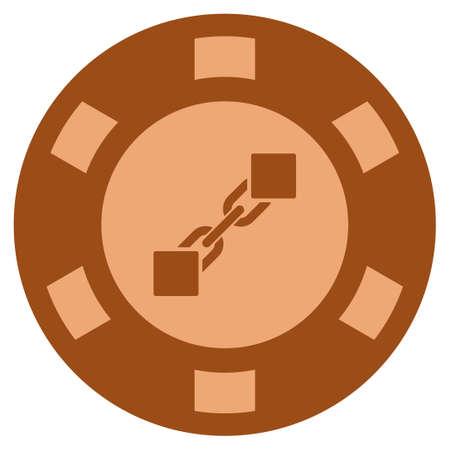 Blockchain bronze casino chip icon. Raster style is a bronze flat gamble token item. Stock Photo
