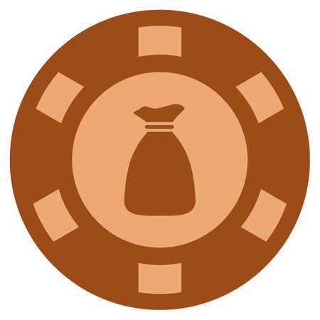 Money Bag bronze casino chip pictogram. Raster style is a copper flat gamble token item. Stock Photo