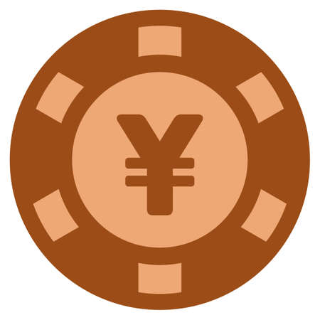 Yuan bronze casino chip pictograph. Raster style is a bronze flat gambling token symbol.
