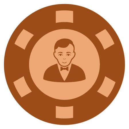 Croupier Dealer copper casino chip icon. Raster style is a bronze flat gambling token item.