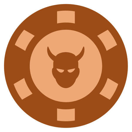 Devil bronze casino chip pictograph. Raster style is a bronze flat gamble token symbol. Stock Photo