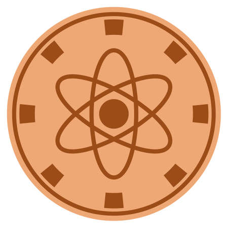 Atom copper casino chip pictogram. Raster style is a copper flat gambling token symbol.