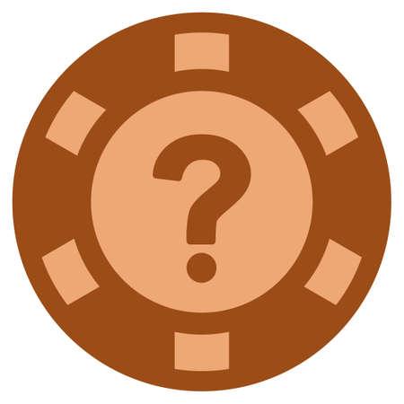 Question copper casino chip icon. Raster style is a copper flat gamble token symbol. 版權商用圖片