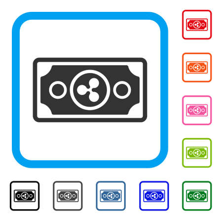 Ripple Banknote icon. Flat grey iconic symbol inside a blue rounded frame. Black, gray, green, blue, red, orange color additional versions of Ripple Banknote vector.