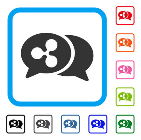 Ripple Chat Messages icon. Flat grey pictogram symbol in a blue rounded squared frame. Black, gray, green, blue, red, orange color variants of Ripple Chat Messages vector.