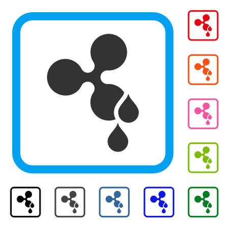 Ripple Blood Drops icon. Flat grey pictogram symbol inside a blue rounded square. Black, gray, green, blue, red, orange color versions of Ripple Blood Drops vector. Designed for web and app UI. Illustration