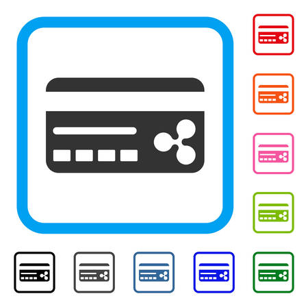 Ripple Banking Card icon. Flat gray iconic symbol inside a blue rounded rectangular frame. Black, gray, green, blue, red, orange color additional versions of Ripple Banking Card vector. Stock Illustratie