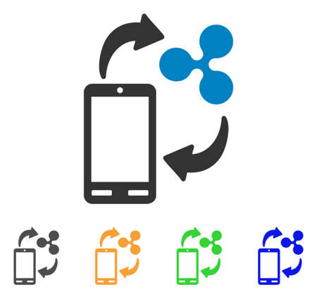 Ripple Mobile Banking icon. Vector illustration style is a flat iconic ripple mobile banking symbol with gray, yellow, green, blue color variants. Designed for web and software interfaces.