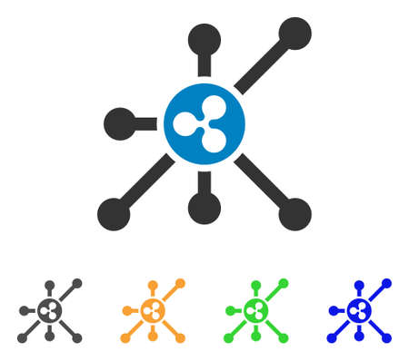 Ripple node icon. Vector illustration style is a flat iconic ripple node symbol with grey, yellow, green, blue color versions. Designed for web and software interfaces.