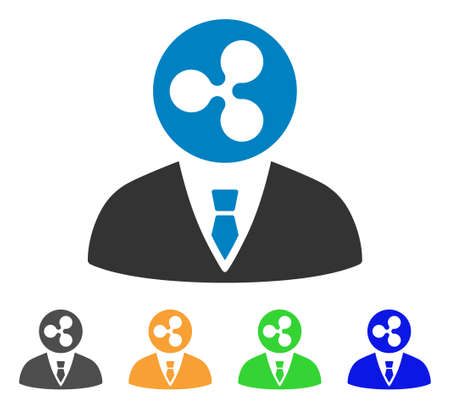 Ripple manager icon. Vector illustration style is a flat iconic ripple manager symbol with grey, yellow, green, blue color versions. Designed for web and software interfaces.