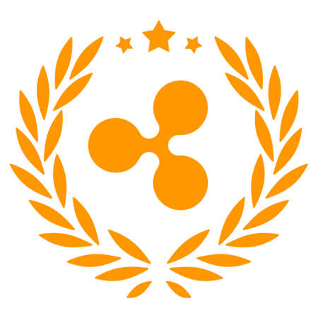 Ripple Laurel Wreath flat vector pictogram. An isolated icon on a white background. Illustration