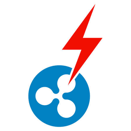 Ripple Lightning Strike flat vector icon. An isolated icon on a white background.