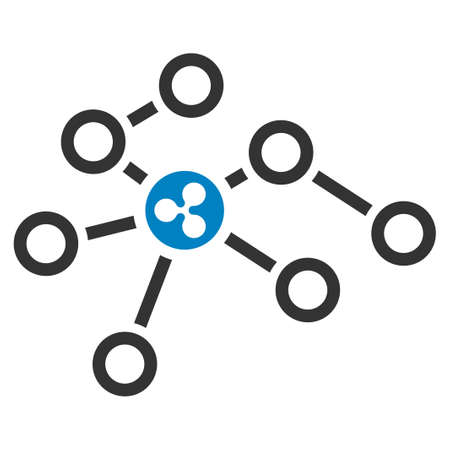 Ripple Network Nodes flat vector pictogram. An isolated icon on a white background.
