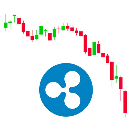 Candlestick Chart Ripple Fall flat raster pictograph. An isolated icon on a white background.
